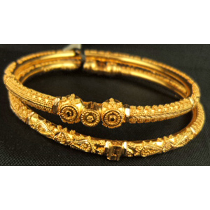 1 Pair 22 Karat Gold Fine Design Screw Bangle 22 Gold Jewellery