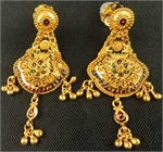 22 Karat Meenakari Filigree Hanging Earring-gold jewellery-Lotus Gold