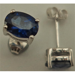 Sterling Silver Oval Shaped Studs with Synthetic Sapphire