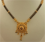 22 Karat Gold 2 Row Mangalsutra with Meenakari Round Pendant-gold jewellery-Lotus Gold