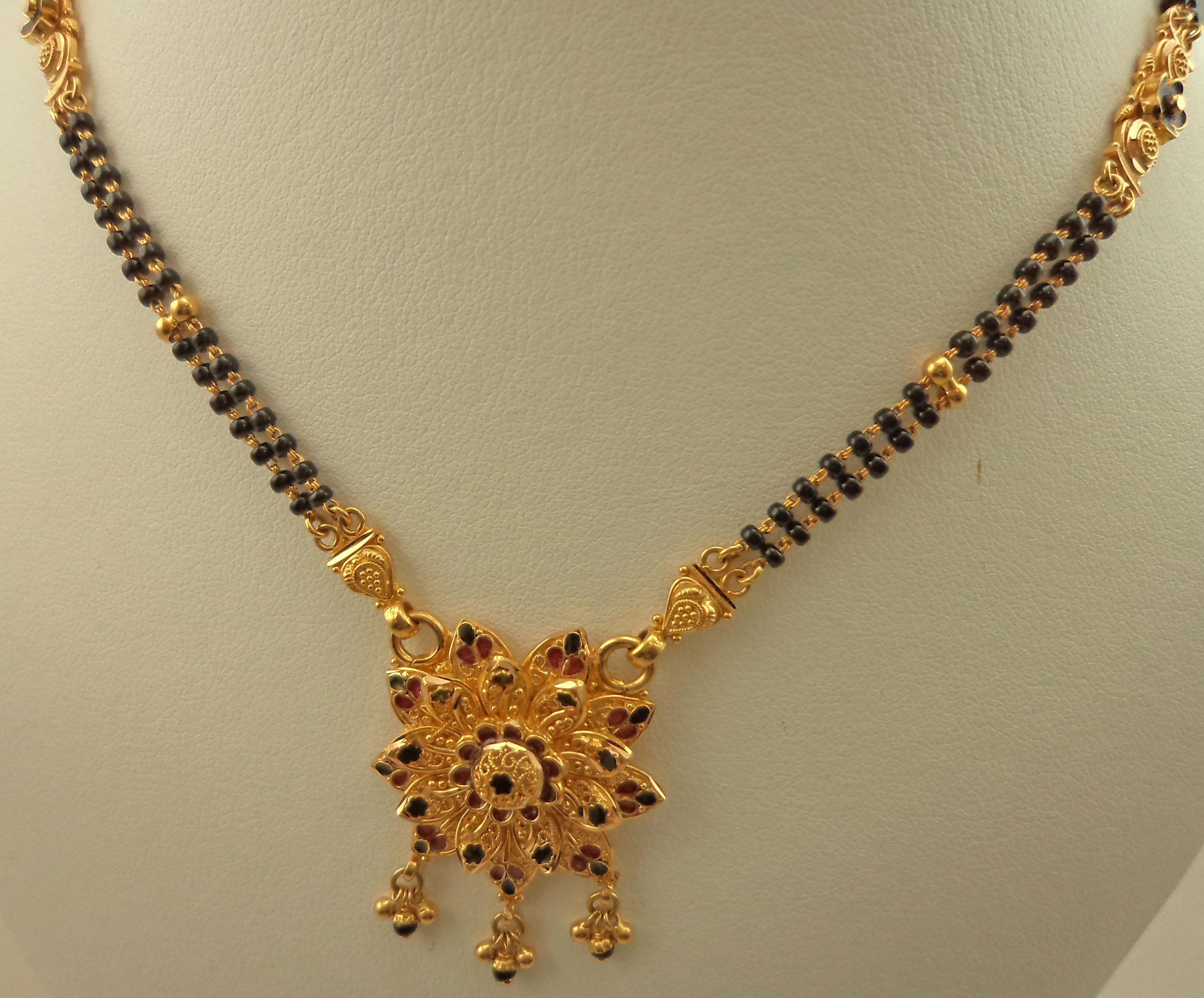 22 Karat Gold 2 Row Mangalsutra with Antique Meenakari