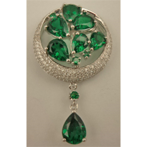 Sterling Silver Cubic Zirconia Round Synthetic Emerald Pendant with Hanging Teardrop Emerald