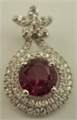 Sterling Silver Pendant with Cubic Zirconia and Synthetic Round Ruby  -silver jewellery-Lotus Gold