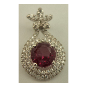 Sterling Silver Pendant with Cubic Zirconia and Synthetic Round Ruby