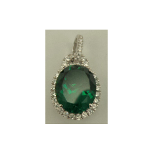 Sterling Silver Cubic Zirconia Pendant with Oval Shaped Synthetic Emerald