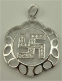 Sterling Silver Swastika Pendant with Cubic Zirconia-silver jewellery-Lotus Gold