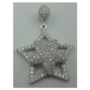 Sterling Silver Cubic Zirconia Star Shaped Pendant