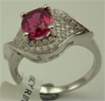Sterling Silver Cubic Zirconia Ladies Fancy Ring with Synthetic Ruby-rings-Lotus Gold