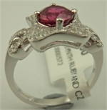 Sterling Silver Cubic Zirconia Fancy Ring with Synthetic Ruby -rings-Lotus Gold