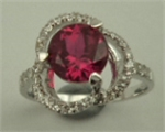 Sterling Silver Cubic Zirconia Ladies Fancy Ring with Round Synthetic Ruby -rings-Lotus Gold