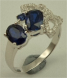 Sterling Silver Flower with  Cubic Zirconia and Synthetic Sapphire Fancy Ring-rings-Lotus Gold