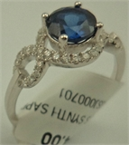 Sterling Silver Cubic Zirconia Ring with Synthetic Sapphire-rings-Lotus Gold