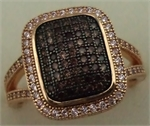 Sterling Silver Cubic Zirconia Rose Gold  Rectangular Shaped Ring-rings-Lotus Gold