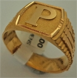 22 Karat Gold Initial 'P' Gents Ring-gold jewellery-Lotus Gold