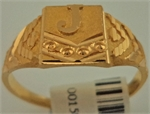 22 Karat Gold Initial 'J' Gents Ring-gold jewellery-Lotus Gold