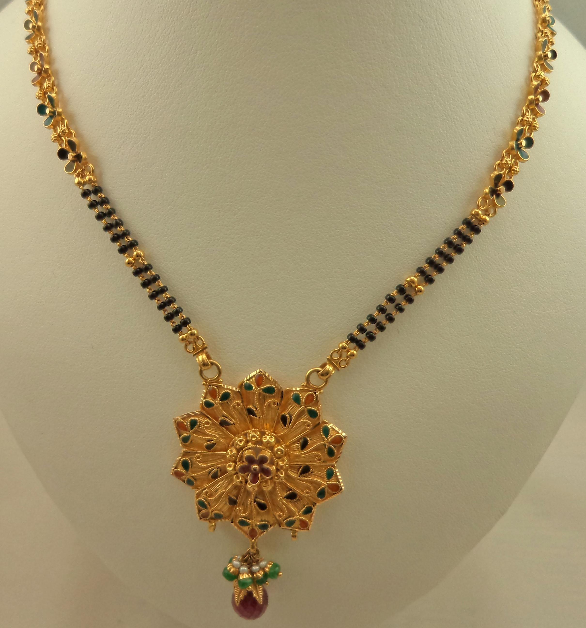 22 Karat Gold 2 Rows Long Mangalsutra With Meenakari
