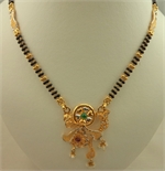 22 Karat Gold 2 Tone Fancy Pendant Mangalsutra with Pearl, Emerald and Ruby Stone -gold jewellery-Lotus Gold