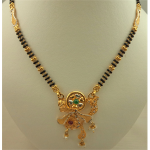 22 Karat Gold 2 Tone Fancy Pendant Mangalsutra with Pearl, Emerald and Ruby Stone
