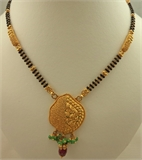 22 Karat Gold 2 Tone Antique Pendant Mangalsutra with Emerald and Ruby Stone -gold jewellery-Lotus Gold