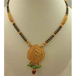22 Karat Gold 2 Tone Antique Pendant Mangalsutra with Emerald and Ruby Stone