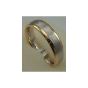 18 Karat Gold 2 Tone Plain Matt Finish Gents Band