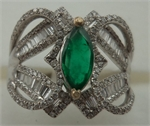 18 Carat White Gold with 0.96 Carat Diamond Baguette Cut and  Emerald Fancy Ring -diamonds-Lotus Gold