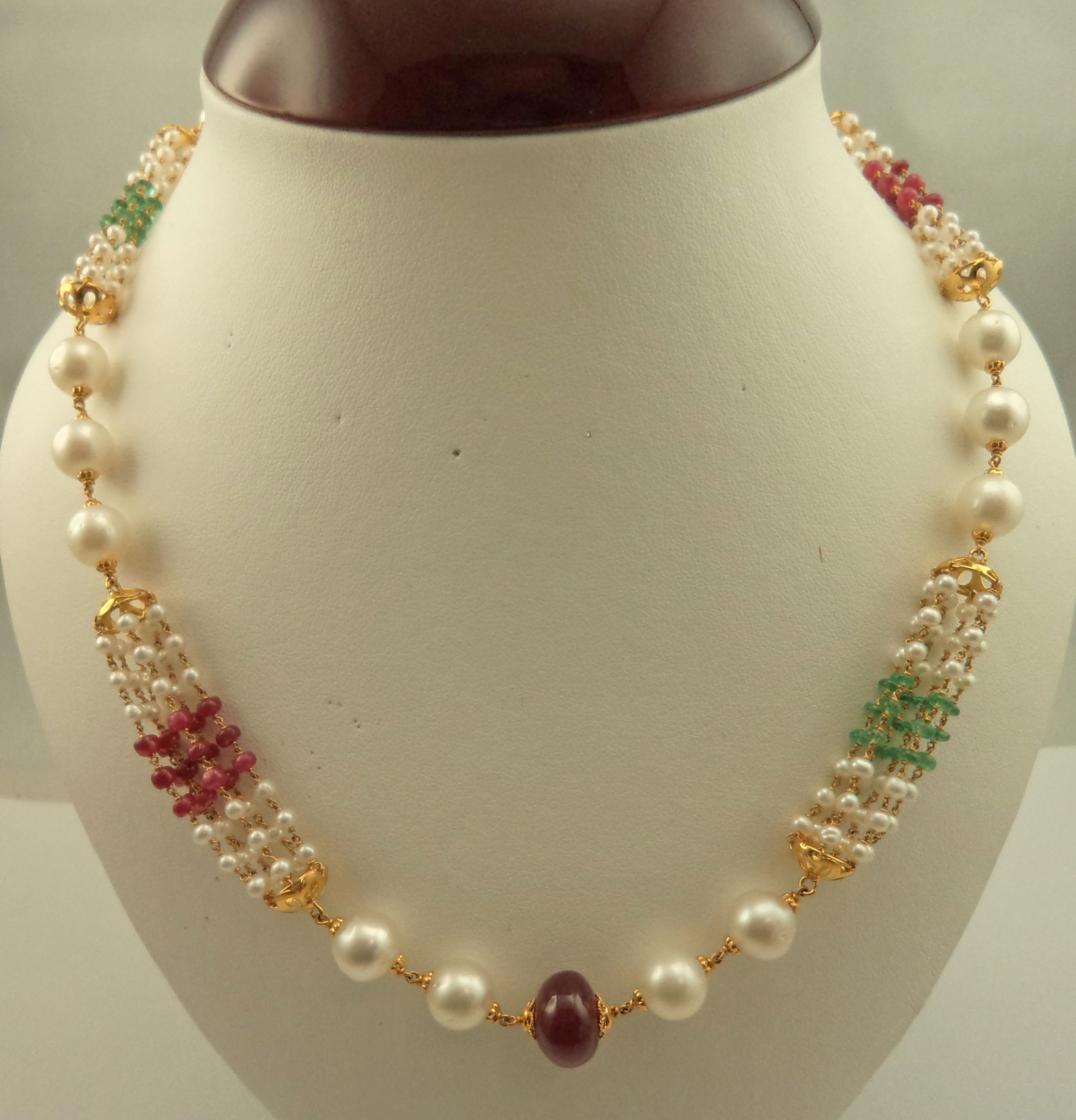 22 Karat Gold With Polki Pearl Emerald And Ruby Necklace