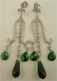 925 Sterling Silver with Cubic Zirconia and Synthetic Emerald Drop Earring-silver jewellery-Lotus Gold