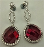925 Sterling Silver925 Sterling Silver with Cubic Zirconia and Synthetic Ruby Drop Earring-silver jewellery-Lotus Gold