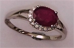 10 Karat White Gold 4 Claws Diamond Ring with Oval Shaped Ruby-diamonds-Lotus Gold