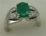 10 Karat White Gold Diamond Shoulder Ring with Oval Shaped Emerald-diamonds-Lotus Gold