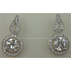 925 Sterling Silver Cubic Zirconia Round Earring
