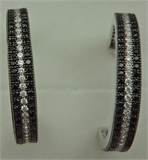 925 Sterling Silver 3 Rows Cubic Zirconia Black Stone Hoops-silver jewellery-Lotus Gold