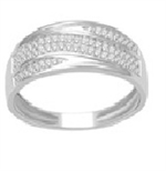 10Karat White Gold with 0.18Carat Diamond Band  -diamonds-Lotus Gold