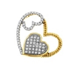 925 Sterling Silver with 0.20Carat Diamonds Double Heart Pendant-diamonds-Lotus Gold