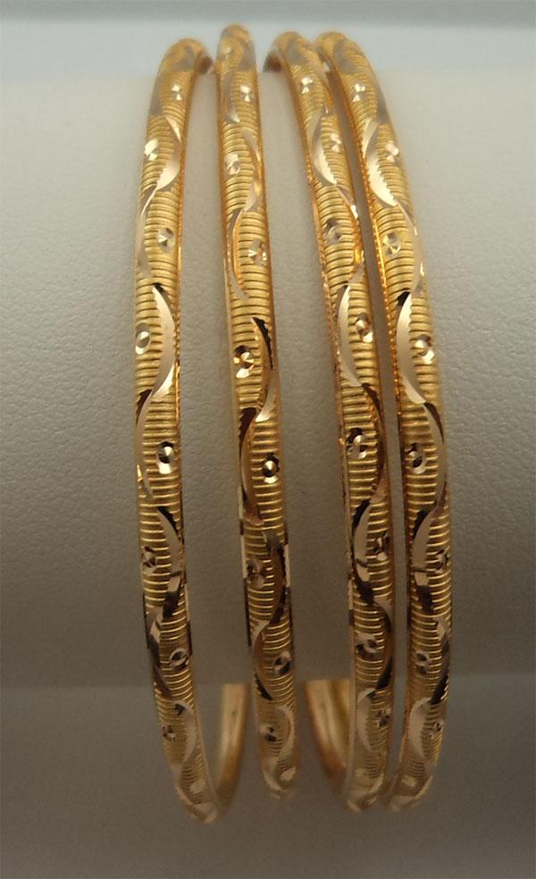 22Karat Gold 2 Pairs Solid Thin Wavey Design Bangles - 22 : Gold ...