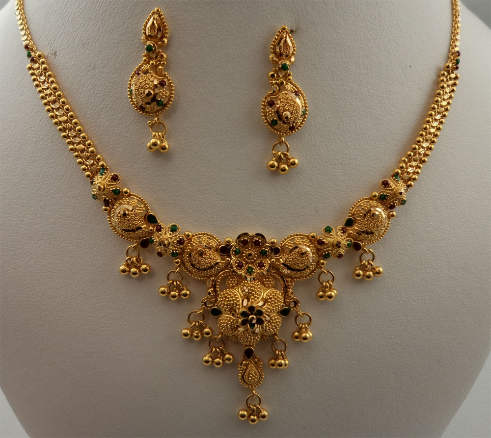 22Karat Gold Meenakari Filigree Necklace Set - 22 : Gold ...