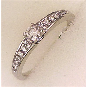 10Karat White Gold with 0.33Carat Diamonds Solitaire Shoulder Ring