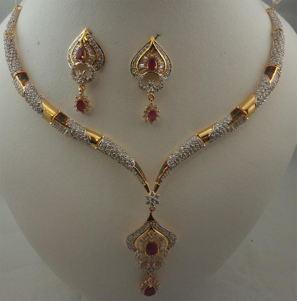 22Karat Gold with Cubic Zirconia, Meenakari and Ruby Fancy Drop ...