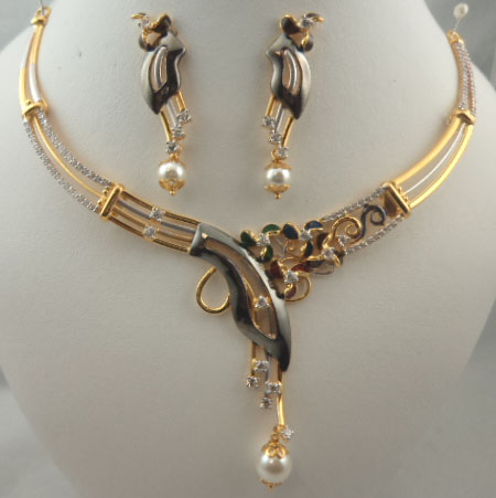 22Karat Gold with Cubic Zirconia Meenakari Black Gold Pearl