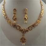 22Karat Gold Cubic Zirconia Round Black Gold Teardrop Pearl Hanging Necklace Set -gold jewellery-Lotus Gold
