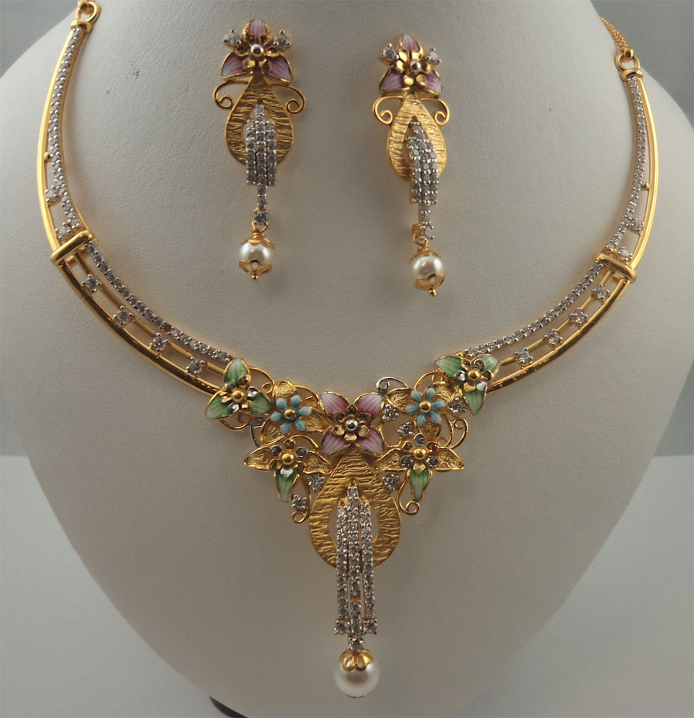 22karat gold with cubic zirconia flower design meenakari pearl 22karat gold with cubic zirconia flower design meenakari pearl hanging italian design necklace set mozeypictures Gallery
