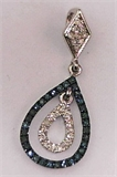 925 Sterling Silver with 0.60Carat Blue Diamonds Teardrop Pendant -diamonds-Lotus Gold