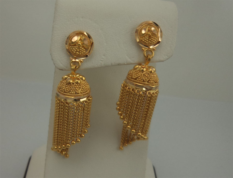 21karat Gold Chain Hanging Jhumka Gold Jewellery Earrings
