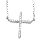 10Kt White Gold 0.08ct Diamond Cross Pendant-diamonds-Lotus Gold