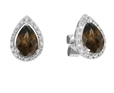 9K White Gold with Pear Shaped Smoky Quartz Diamond Earring-earrings-Lotus Gold