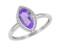 9K White Gold with Diamond Shaped Amethyst Diamond Ring-rings-Lotus Gold