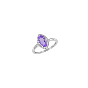 9K White Gold with Diamond Shaped Amethyst Diamond Ring