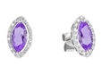 9K White Gold with Diamond Shaped Amethyst Diamond Earring-earrings-Lotus Gold