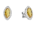 9K White Gold with Diamond Shaped Citrene Diamond Earring-diamonds-Lotus Gold